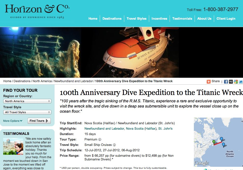 Horizon Co. - 100th Anniversary Dive Expedition to the Titanic Wreck