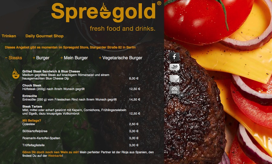 Steaks Burger Spreegold Berlin fresh food drinks