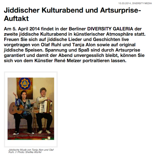 diversity art jiddischer kulturabend Tania Alon Regenbojgen