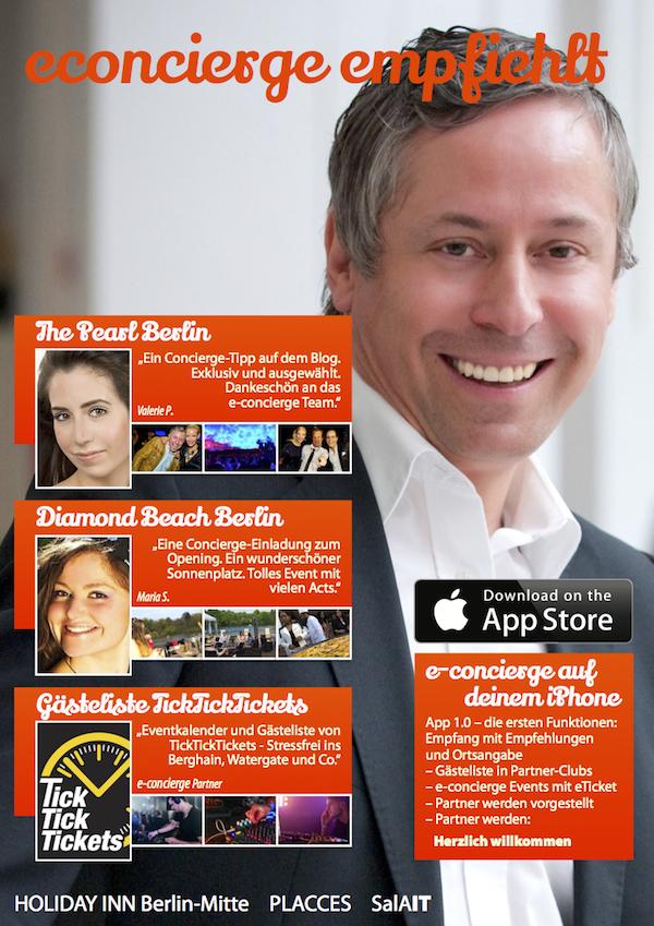 Plakat Concierge e-concierge Gerry App Store google plus Facebook
