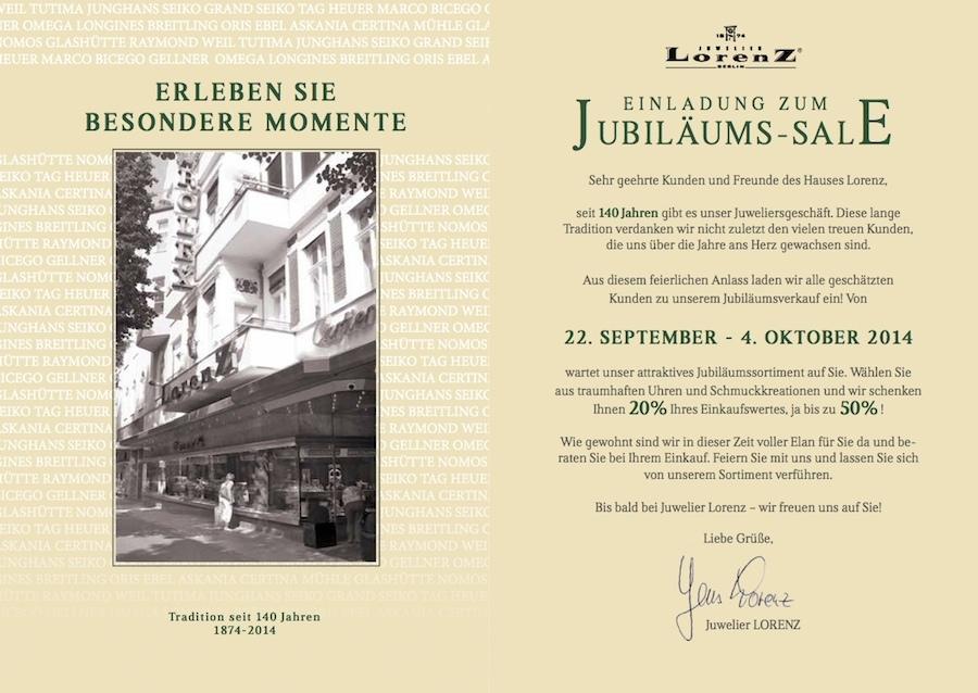 Jubilaeum 140 Jahre sale Juwelier Lorenz Kauf Uhren Schmuck Gold Silber Platin Jens Steglitz