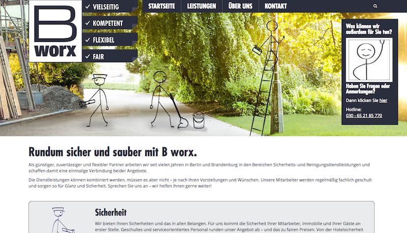 2017 0111 b worx Homepages Internetseite Neu Relaunch Lesitung ueber uns Sicherheit sauber kontakt