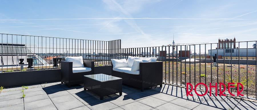 Dachterrasse Blick Penthouse 10115 Berlin 100856 O 56414 2 Zimmer Designwohnung Rohrer Immobilien