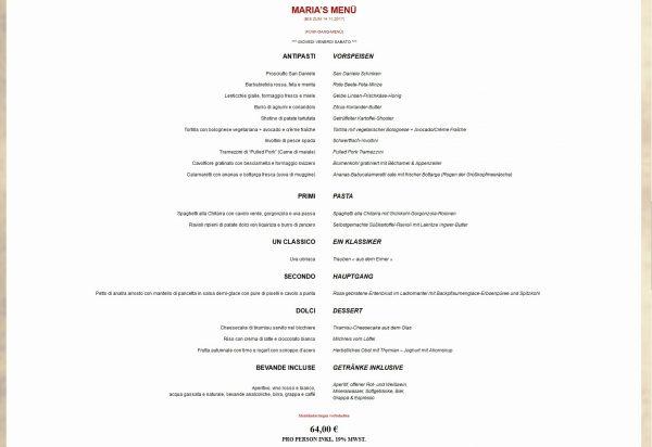 Osteria Maria Menue Karte Restaurant